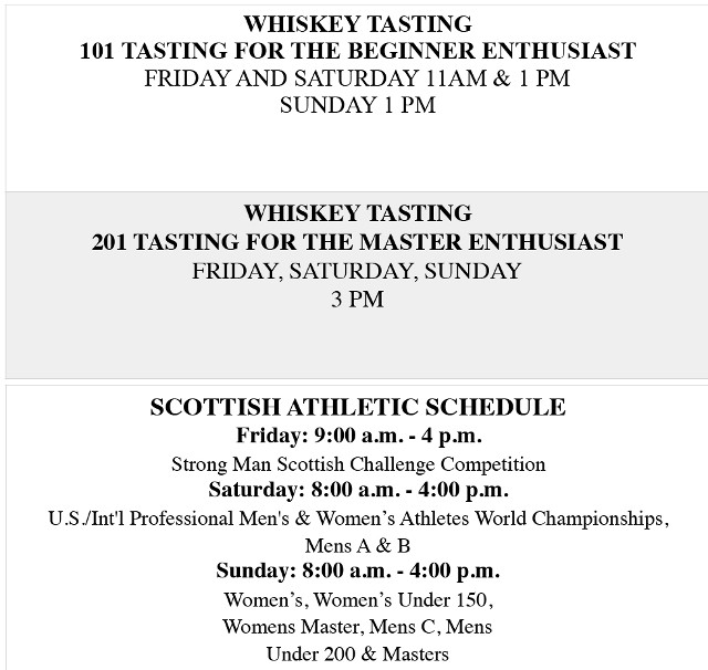 2020 Whiskey Athletic Schedule