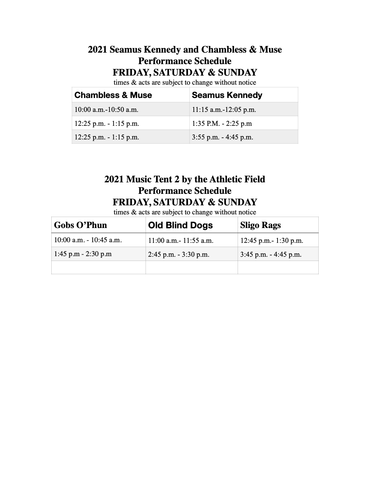 2021: Entertainer Field Schedule 2